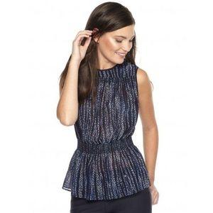Michael Kors new navy smocked sleeveless blouse
